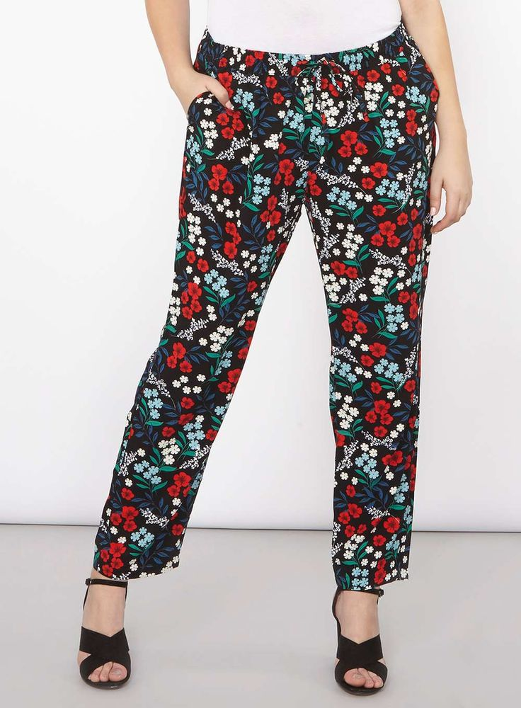 Womens **Juna Rose Curve Black Floral Trousers- Black
