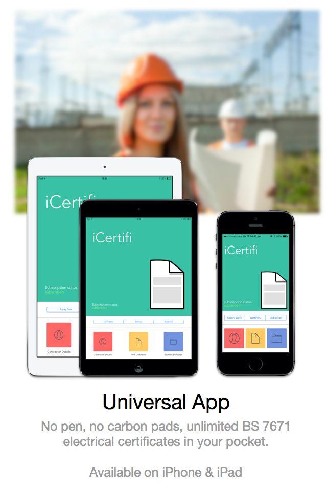 Universal App iCertifi, electrical certificates www.icertifi.co.uk