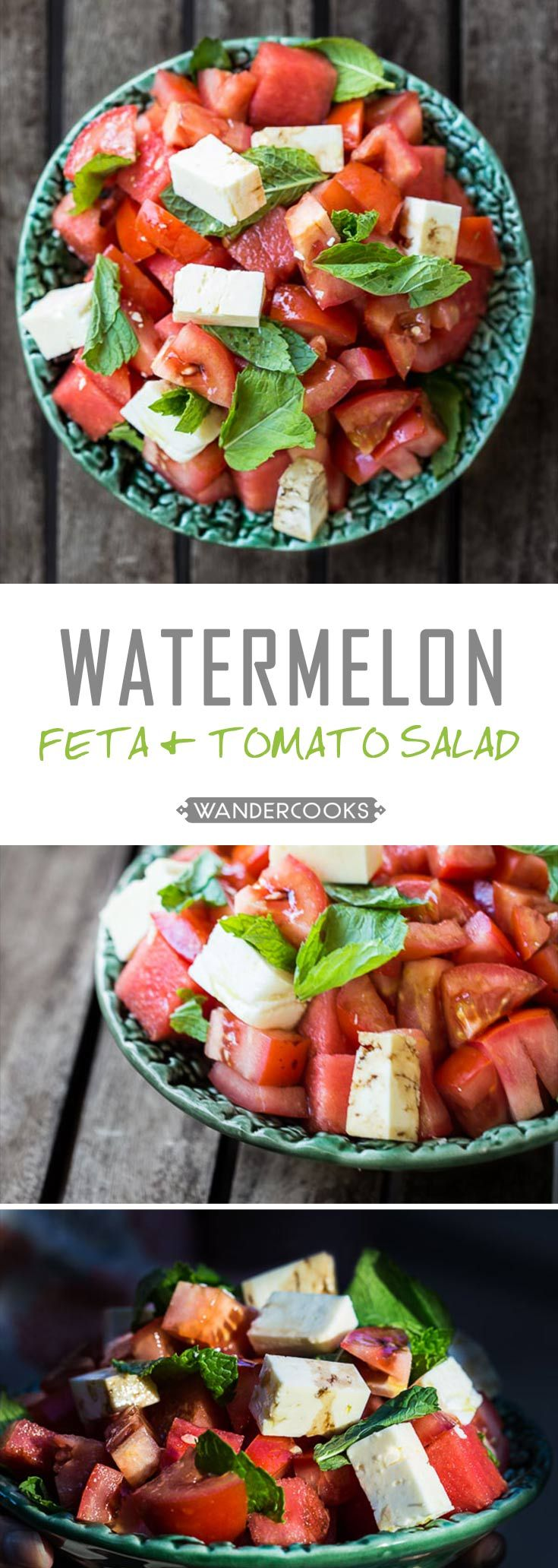 Greek Watermelon, Tomato & Feta Salad with Mint - Fresh, summer flavours are ready to kick all other salads to the kerb. This vegetarian delight is ready to change your life in 5 minutes. | wandercooks.com