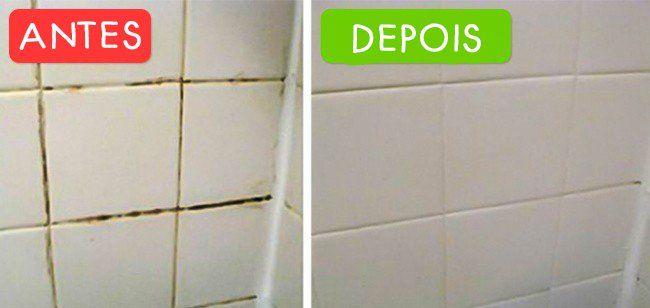 Para limpar a sujeira dos azulejos e rejunte, misture quatro litros de água morna e 1/4 de xícara de vinagre branco. Mergulhe a esponja na solução e esfregue bem todo o azulejo. Para tirar sujeiras e manchas mais resistentes, aplique um pouco de vinagre diretamente na esponja e esfregue