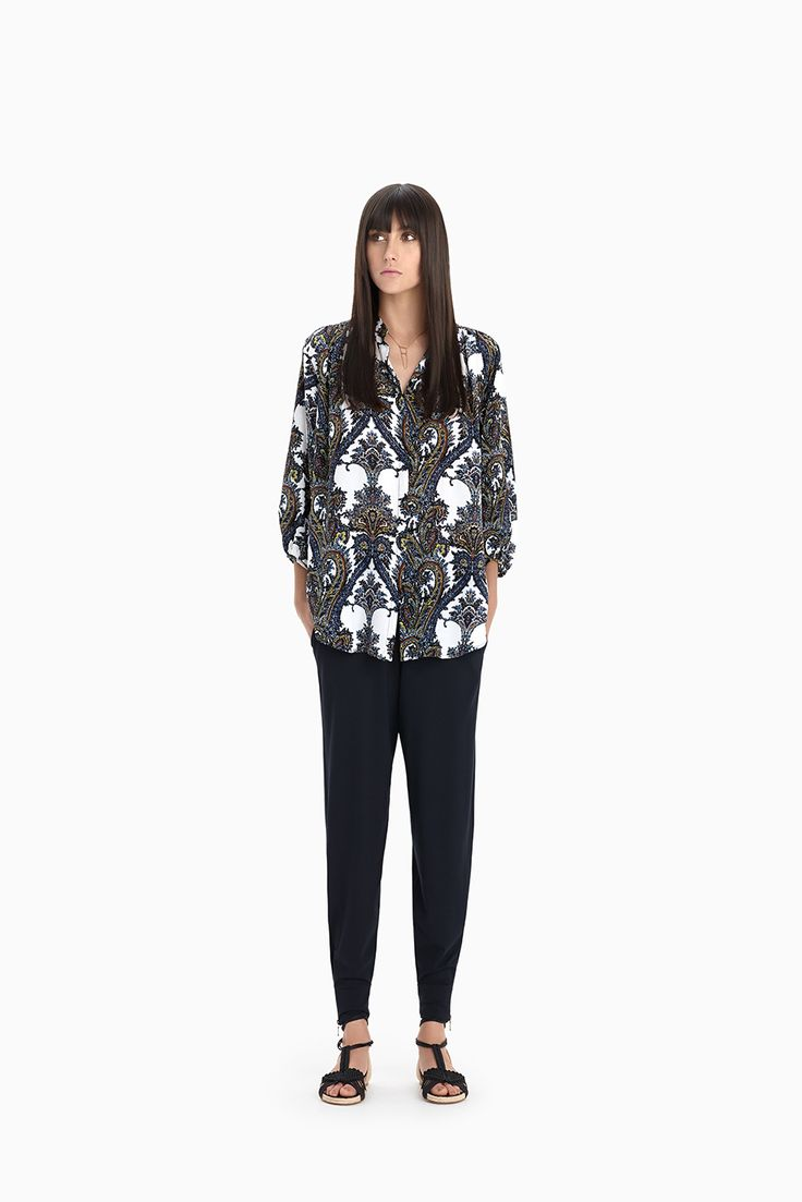 Folk Print Blouse + Navy Zip Eclipse Pant