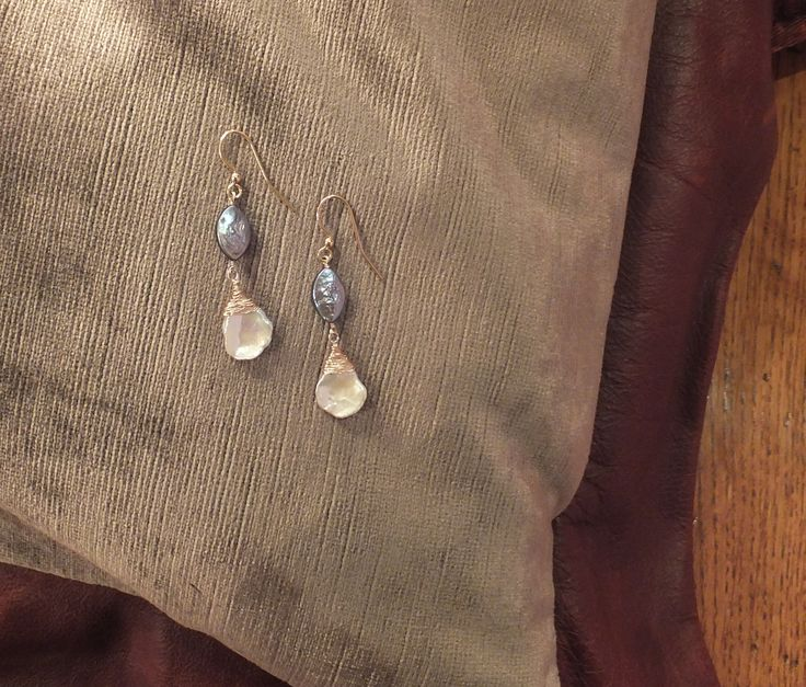 Keshi Pearls and Peacock Blue Fresh Water Pearls, Wire worked earrings - 24ct Gold filled earring hooks