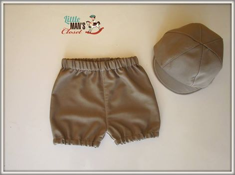 New season beige vintage newsboy hat and knickerbockers set.  Handmade funky boys outfit by Little Man's Closet.