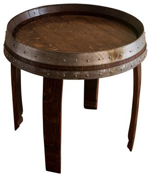 Banded Wine Barrel Side Table 22 Tall Contemporary Tables And Accent
