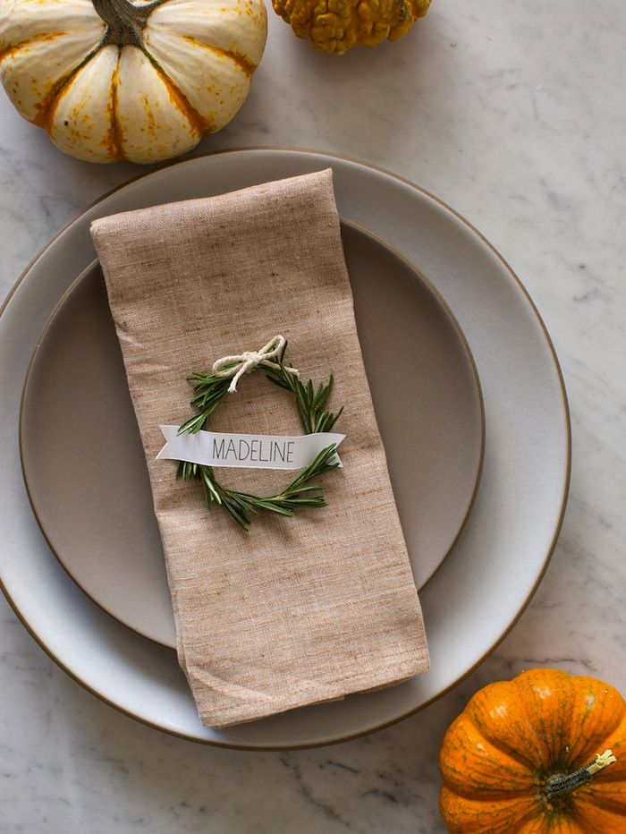 Rosemary Napkin Rings - 25 Rustic Thanksgiving Table DIYs: