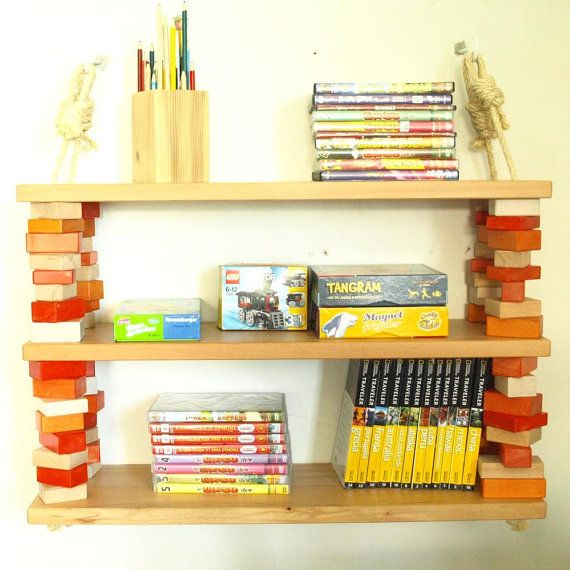 Rope and wood blocks three shelves unit  red orange by MustHaveRo