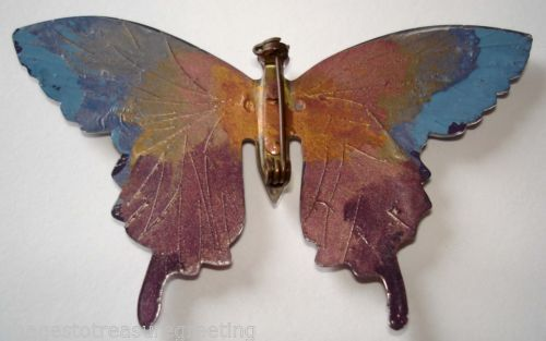 Vintage butterfly brooch( Back painted perspex )