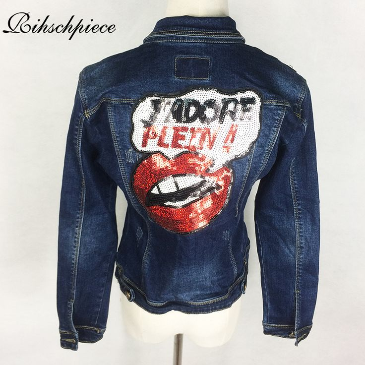 Rihschpiece Spring Denim Jacket Women Embroidered Oversize Jeans Jackets Sequins Basic Coat Slim Vintage Punk Outwear RZF320