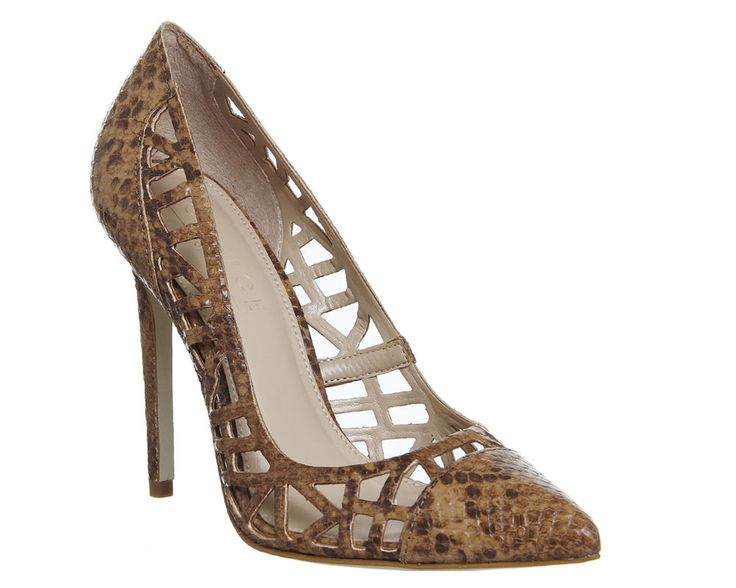 Women's Office Attitude Cut Out Point Court Heels SNAKE LEATHER Heels.