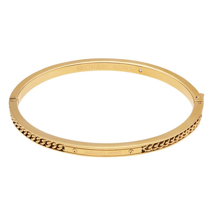 Michael Kors Goldtone Stainless Steel Logo Plaque Chain Hinged Bangle Bracelet (Gold)