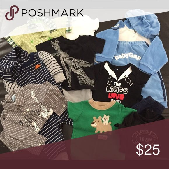 ☀️SALE☀️ Baby Boy Bundle #2 (3-6/6mo) Baby Boy Bundle #2, 3-6 months and 6 months. 12 pieces = Baby Gap jogger, Carter's Hoodie onesie, frog romper, gray collared guitar shirt, Guitar tee shirt/short set, Bear tee, The Ladies Love Me onesie, Mickey onesie, white onesie, navy pants. All great condition 💙 Other