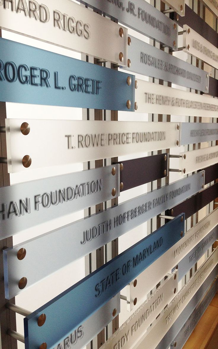 Donor Board Inspiration. Why not develop your own board with us? #donorboard #signage #wayfinding www.amodi.co.uk