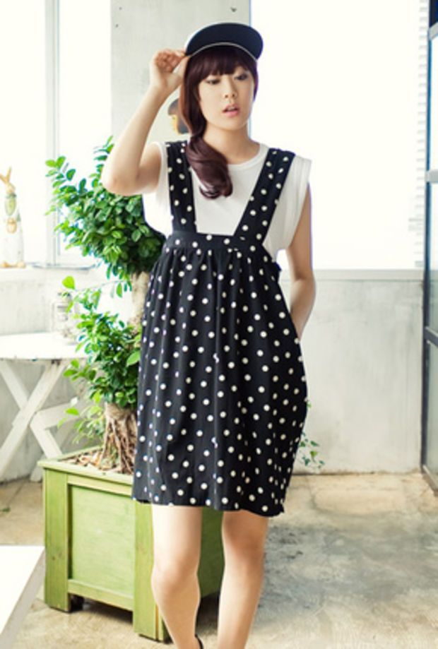 polkadot suspender skirt