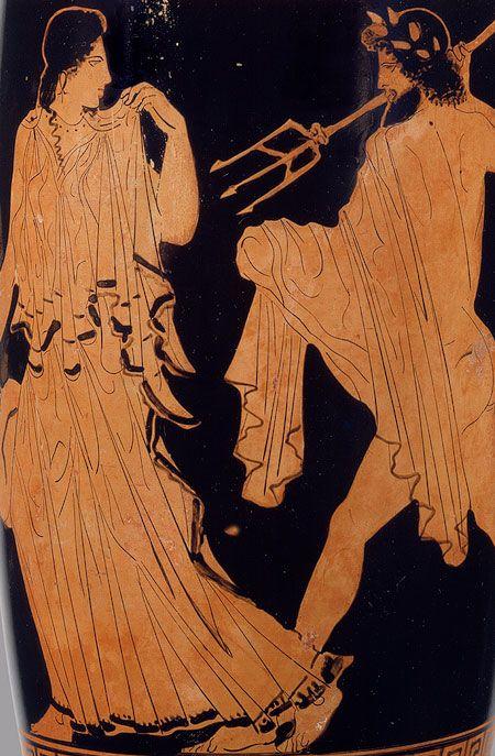 Rūpīgi sakrokota tunika simetriskās ielocēs. Attributed to the Phiale Painter: Lekythos depicting Poseidon pursuing Amymone (17.230.35) | Heilbrunn Timeline of Art History | The Metropolitan Museum of Art