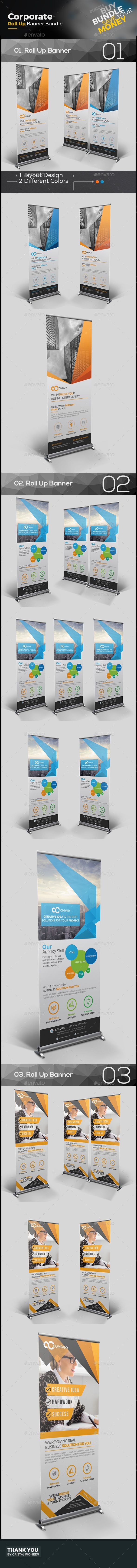 Business Roll Up Banner Bundle Templates Vector EPS, AI Illustrator. Download he...