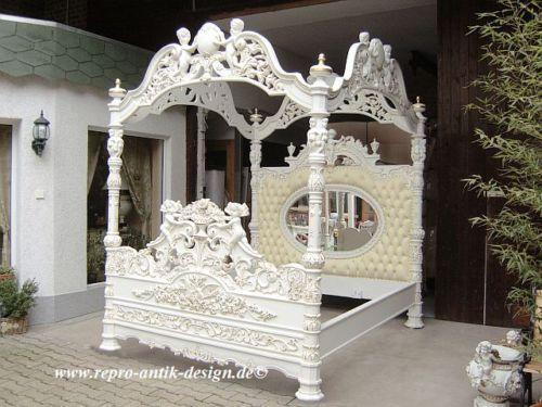 Himmelbett Bett Antik Weiss Barock Engel Gold Barockbett Spiegel