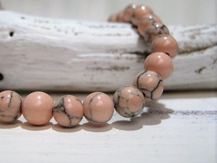 20+Stück+Natursteinperlen+marmoriert+pastell+peach+von+ChaPu+auf+DaWanda.com