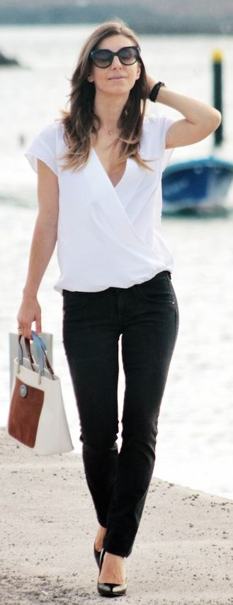 Zara White Loose Wrap Blouse. A very classic look. Wear it just about anywhere. ~GVT~