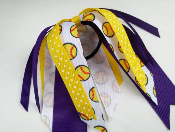 Purple and yellow softball hair ribbons, team hair bows, polka dot ponytail ribbon, softball ribbon hair tie, team sports, softball bow
