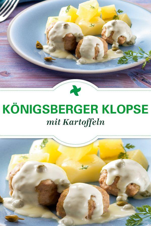 Ein echter Thermomix ® Rezepte Klassiker: Original Königsberger Klopse mit Kartoffeln und einer hellen Sauce mit Kapern. Das schmeckt wie früher! Gefunden auf www.cookidoo.de, dem Thermomix ® Rezept-Portal.