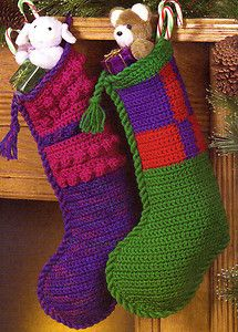 crochet christmas stocking patterns for free | Festive One Piece Christmas Stockings Decor Crochet Pattern ...
