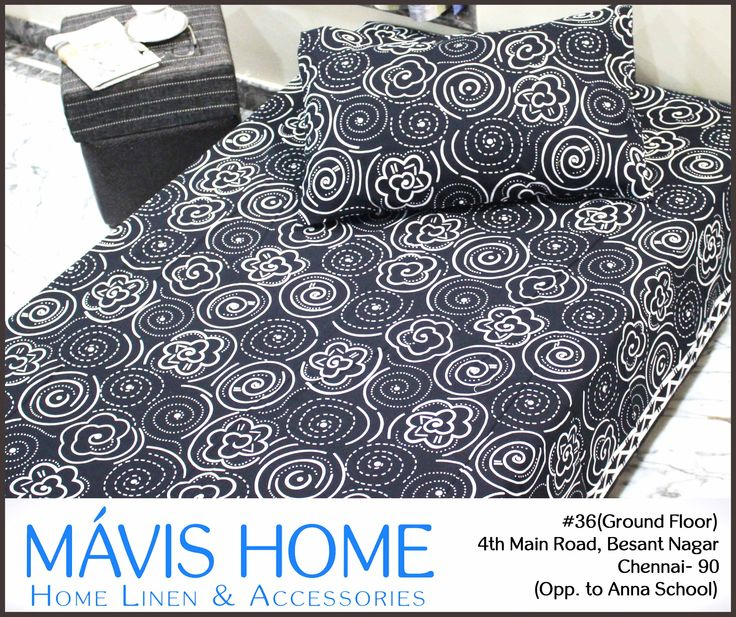 This rich #black #bedspread along with the white motifs will create an #elegance, which will marvel your #guests with its rich and #comfortable feel.