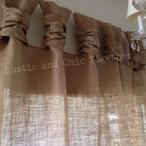 Burlap wide ruched tabs curtains by RusticChicTogether on Etsy, $50.00