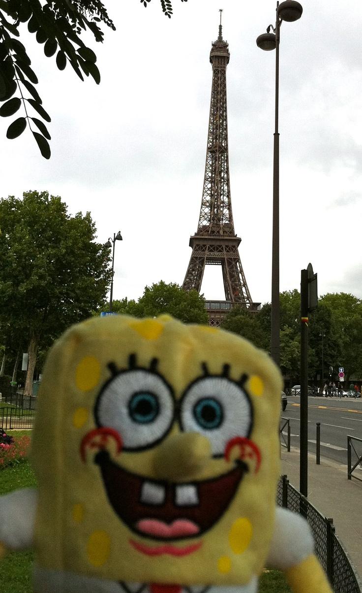 Spongebob Visiting The Eiffel Tower Paris Jul 2011
