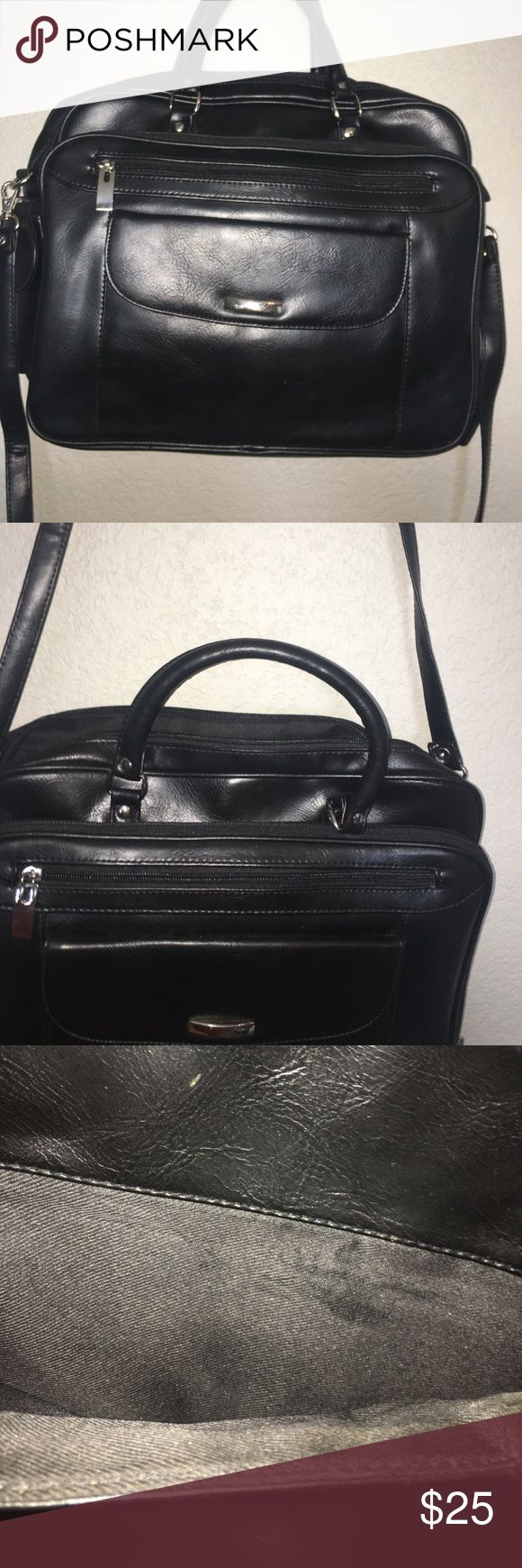 Black Briefcase style bag Black briefcase bag. No brand appears on bag. 2 main comprtments. 3 front exterior pockets, 1 medium size back exterior pocket. removable shoulder strap. Organization for sunglasses (case included), credit cards, a small planner (included), etc. small sign of wear (pictured). Vinyl leather. Nordstrom Bags Laptop Bags