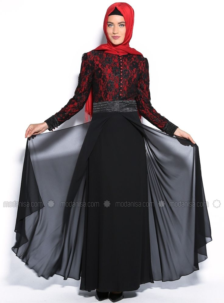 Upper Part Of The Coated Lace Dress - Red, Muslim Evening Dresses. $97.82