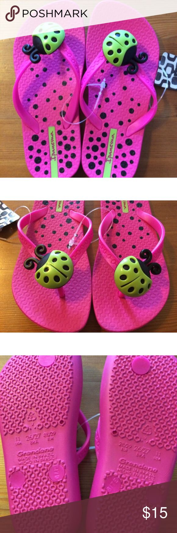 Ladybug flip flops Pink flip flops with bright green ladybugs. Made by grendene which is the same company that makes mini melissas. New with tags but a few marks on soles. Smoke free dog friendly home. Shoes Sandals & Flip Flops