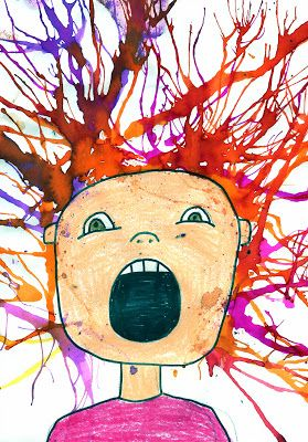 I have done this lesson twice, once with year 6 and another time with a 3/4 class. Both times were a success. Be sure to remind kids that they will get light headed when using straws to create their hair.   Steps i used:  1: draw face/shoulders in lead pencil  2: Colour in with oil pastels  3: Outline with permanent marker 4: Use food dye for hair - do this by placing a drop of food dye at scalp of drawing and blowing upwards (or whatever way you decide).