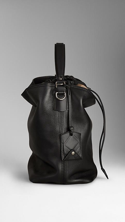 Burberry Medium Canvas Check Leather Hobo Bag