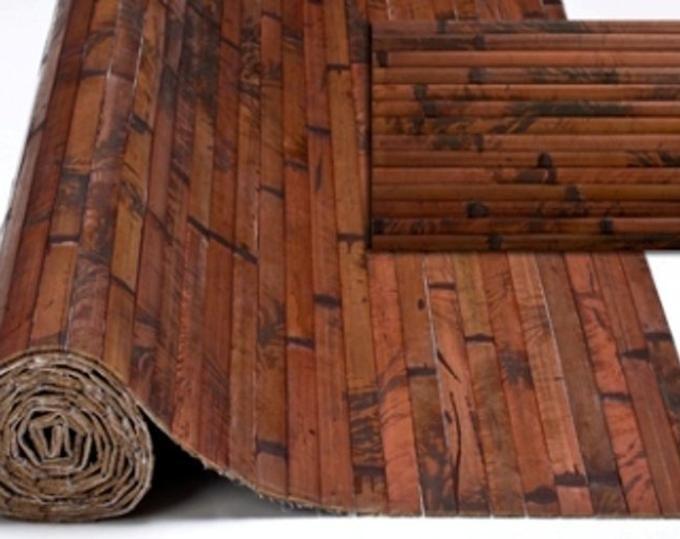 One 4 X 8 Bamboo Wall Paneling Dark Chocolate Color Wainscoting Wainscot Panel Tiki Bar Bamboo Wall Covering Bamboo Panels Bamboo Wall