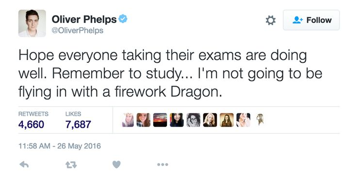 "Oliver Phelps: ""Hope everyone taking their exams are doing well. Remember to study... I'm not going to be flying in with a firework dragon."""