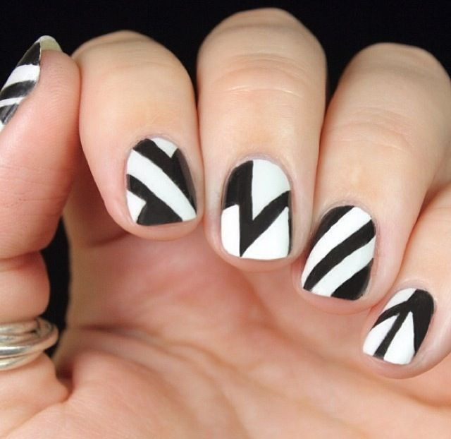 Wouldn't do all nails just an accent nail in one of these patterns.   Doesn't need to be black and white any two colors.