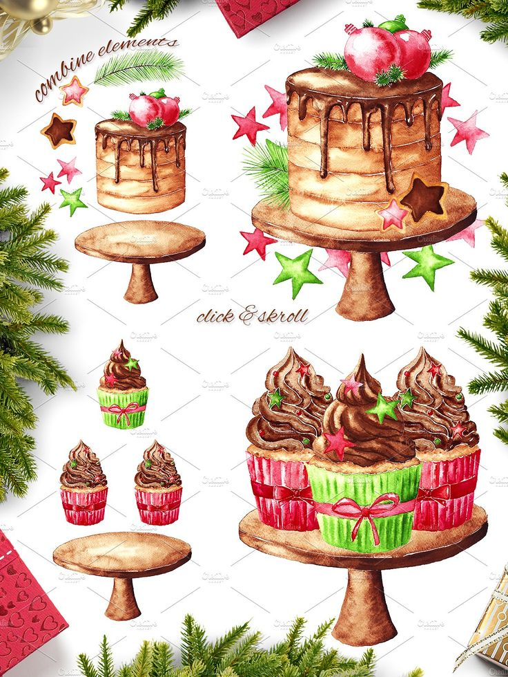 Christmas sweets - watercolor set by Ginger girl on @creativemarket