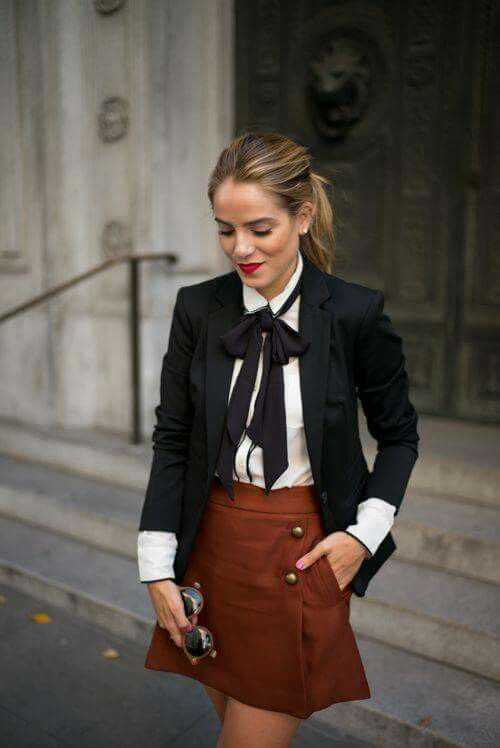 Blazer, blouse, neck scarf, suede skirt outfit. Parisian style Parisian street style