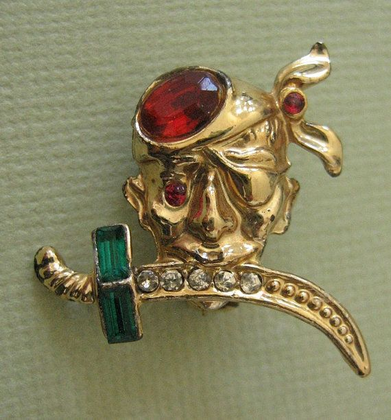 Tiny Pirate Brooch by GemboreeVintage on Etsy