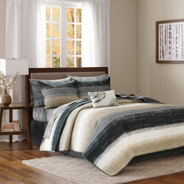 Product Image for Madison Park Essentials Saben Coverlet Set in Taupe/Black 1 ou...