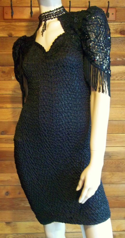 VINTAGE DESIGN TEAM SPORTSWEAR 4 U BLACK SIZE LARGE COCKTAIL DRESS #4U #StretchBodycon #Cocktail