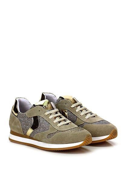 Mery - Sneakers - Donna - Sneaker in camoscio e tessuto lurex con inserti in pelle laminata e suola in gomma. Tacco 25, platform 15 con battuta 10. - SABBIA\GOLD