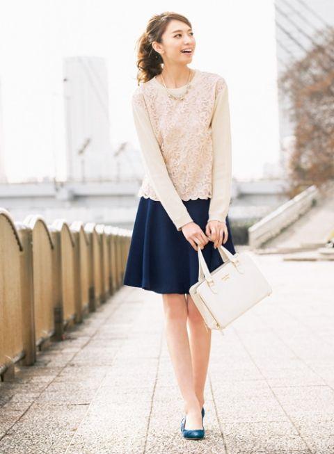 【着まわしday6】レースばりニット×スカートセットアップ (スカート)   ファッション コーディネート   with online on ウーマンエキサイト