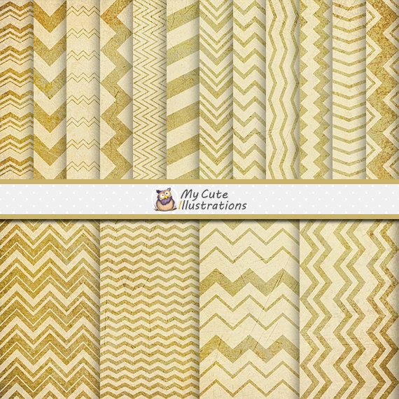 White and Gold Digital Scrapbook Paper / Digital Chevron Background / Gold…