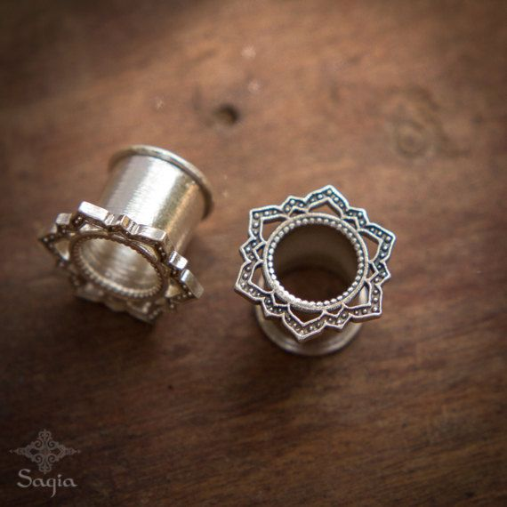 Silver Lotus Tunnel Ear Plugs Gauges, 4mm, 7mm, 10mm, Ear Tunnels ,Silver Gauges, Piercing Jewelry, Tribal Gauge Jewelry
