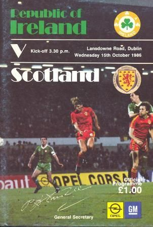 Home game: Ireland v Scotland, 15th October 1986