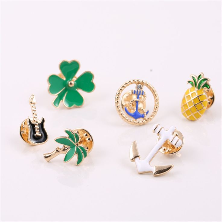 Europe United States foreign trade jewelry wholesale fashion Korea needle collar strawberry clover/pipa brooch Badges wholesale