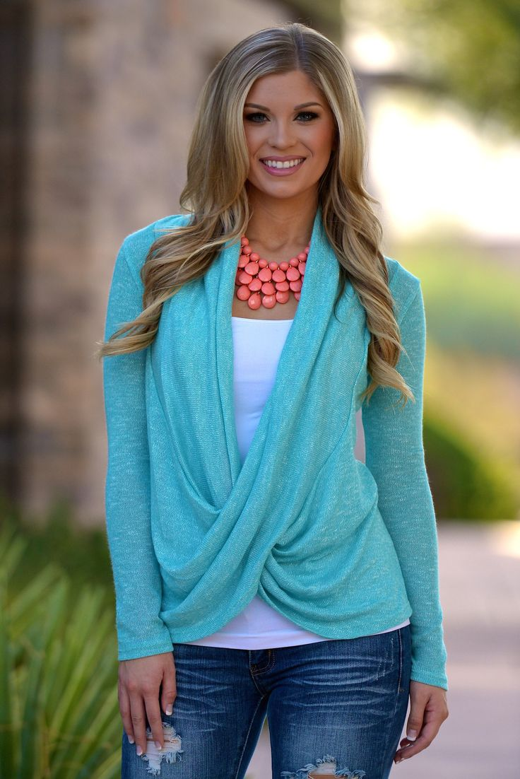 fashion jewellery online shopping Cross Over Sweater  Knit Mint from Closet Candy Boutique