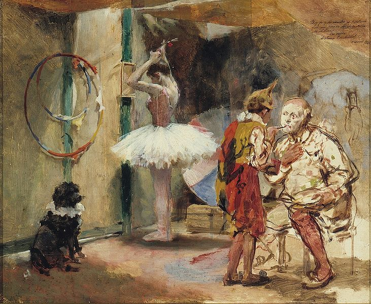 Painting by Venezuelan Arturo Michelena, c. 1891, depicting a backstage area at the circus