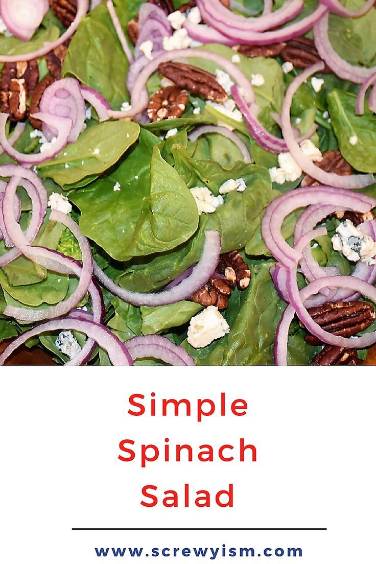 A simple whole food salad that is easy and comes together quickly. This Simple Spinach Salad Recipe is a great addition to a holiday or weeknight meal. via @https://www.pinterest.com/screwyism/